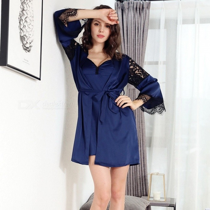a41d04e578 ... Summer Three Quarter Sleeve Lady Pajamas Set, Sexy Lace Silk Sling  Strap Women Nightgown Sleepwear ...
