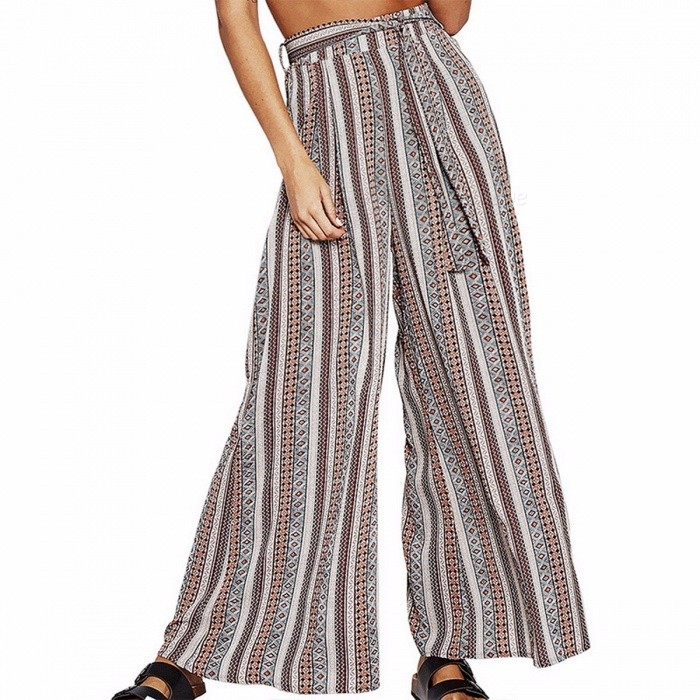 Women High Waist Pants, Casual Striped Floral Wide Leg Summer Comfort Beach Trousers, Lace Up Bottoms Gray/XL for sale in Bitcoin, Litecoin, Ethereum, Bitcoin Cash with the best price and Free Shipping on Gipsybee.com