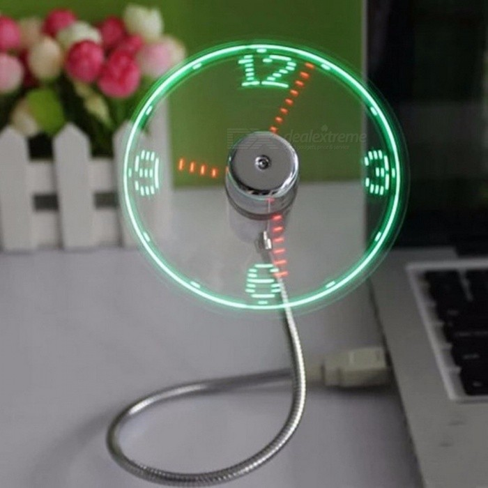 USB Gadget Mini Flexible LED Light USB Fan Time Clock Desktop Clock Cool Gadget Time Display Clear