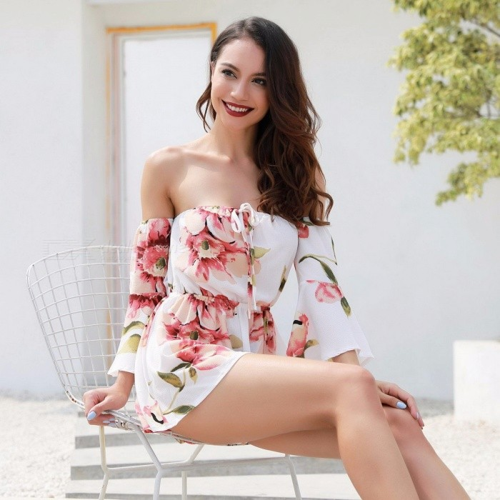 Fashion Flower Print Siamese Shorts Playsuit, Sexy Casual Beach Summer Trumpet Sleeve Off Shoulder Jumpsuit Pants Burgundy/XL