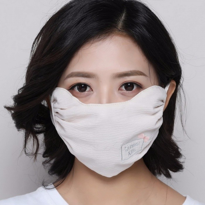 Fashion Women Mask Thin Breathable Shade Mask Sunscreen Dust Mask Pink