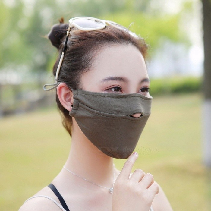 Fashion Women/man Mask Thin Breathable Shade Mask Sunscreen Dust Mask Breathing Mask Dark Brown