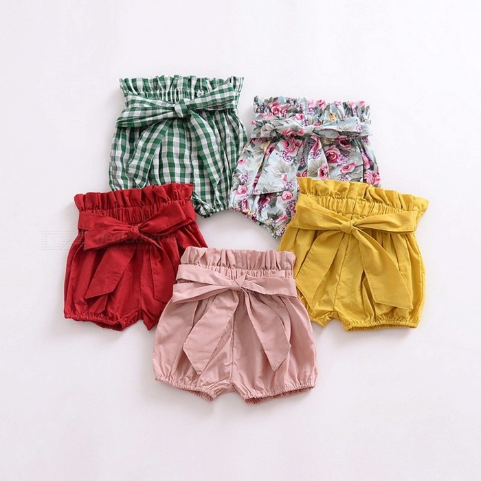 Baby Girls Shorts With Bow Candy Colors Summer Kids Clothes Baby Bloomers Yellow/6