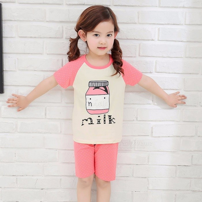 Summer Children\'s Cotton Short-sleeved Sets For Boys Girls Pink/13