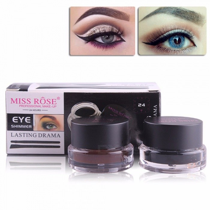 35a8cea7b95 MISS ROSE 2 In 1 Brown + Black Gel Eyeliner Make Up Water-proof And  Smudge-proof Cosmetics Set Eye L