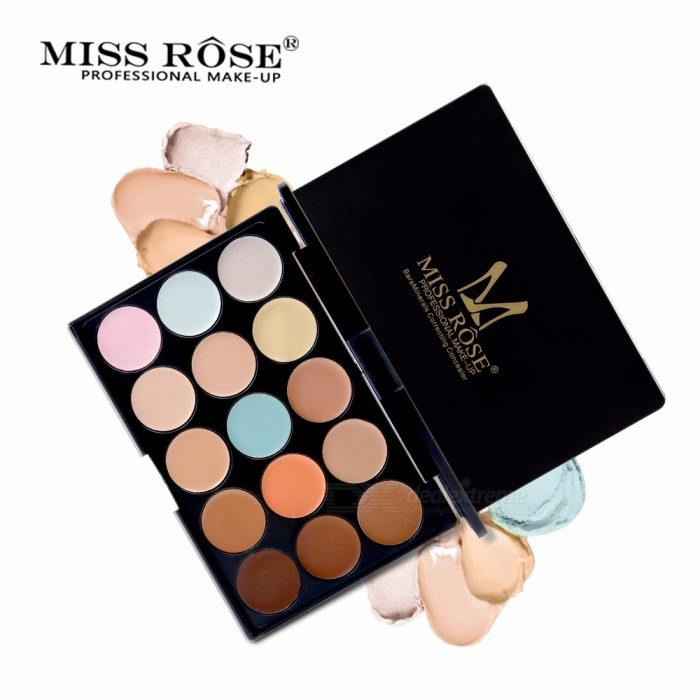 Miss Rose 15 Colors Natural Concealer Palette Base Makeup, Brighten Waterproof Concealer Cream Makeup