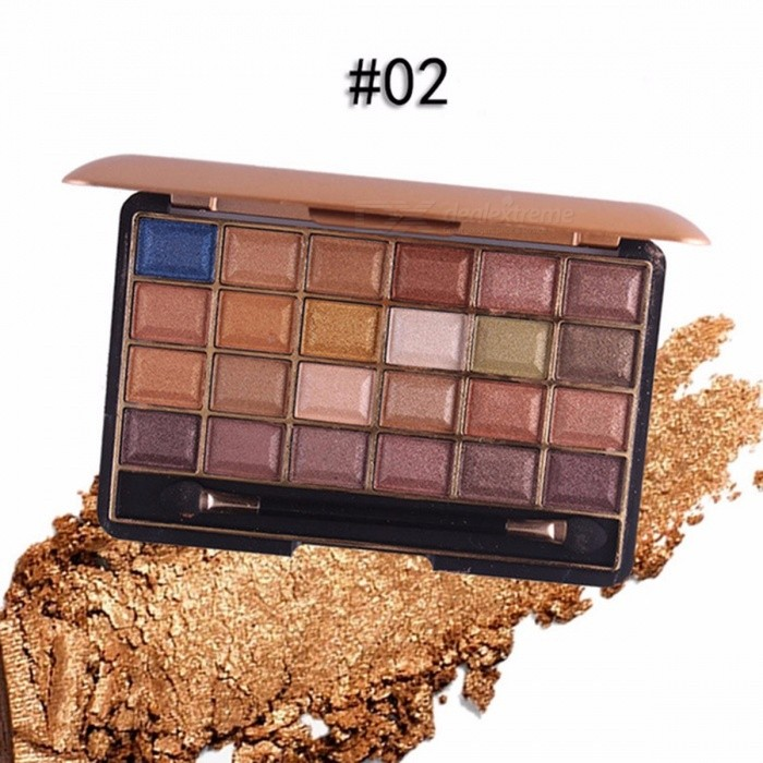 Long-lasting 24 Colors Palette Shimmer Matte Pigment Eye Shadow Cosmetic, Mineral Nude Glitter Waterproof Eyeshadow (02#)