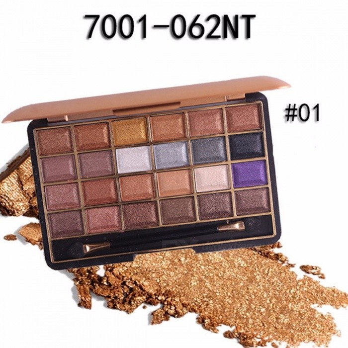 Long-lasting 24 Colors Palette Shimmer Matte Pigment Eye Shadow Cosmetic, Mineral Nude Glitter Waterproof Eyeshadow (01#)