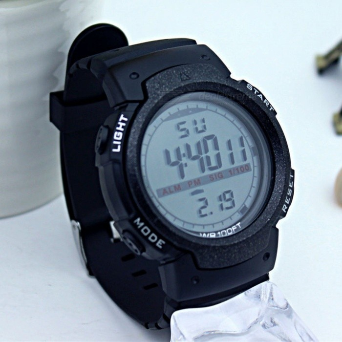 1001 Large Screen Sports Rubber Watch w/ LED Light, Alarm, Chronograph, Date Display, 30m Waterproof for Boy Student