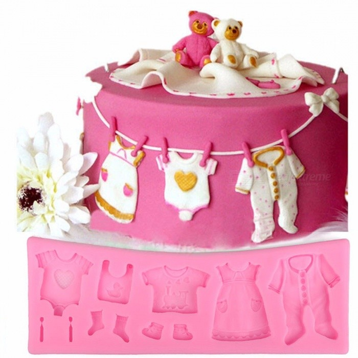 Lovely Baby Clothes Silicone Fondant Mold 3D Cupcake Chocolate Candy Pastry Mold Wedding Cake Decorating Tools Pink