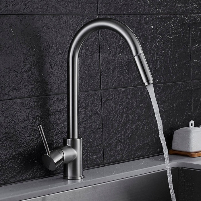 Buy Brass Brushed Pull-out/­Pull-down 360 Degree Rotatable One-Hole Kitchen Faucet with Ceramic Valve, Single Handle with Litecoins with Free Shipping on Gipsybee.com