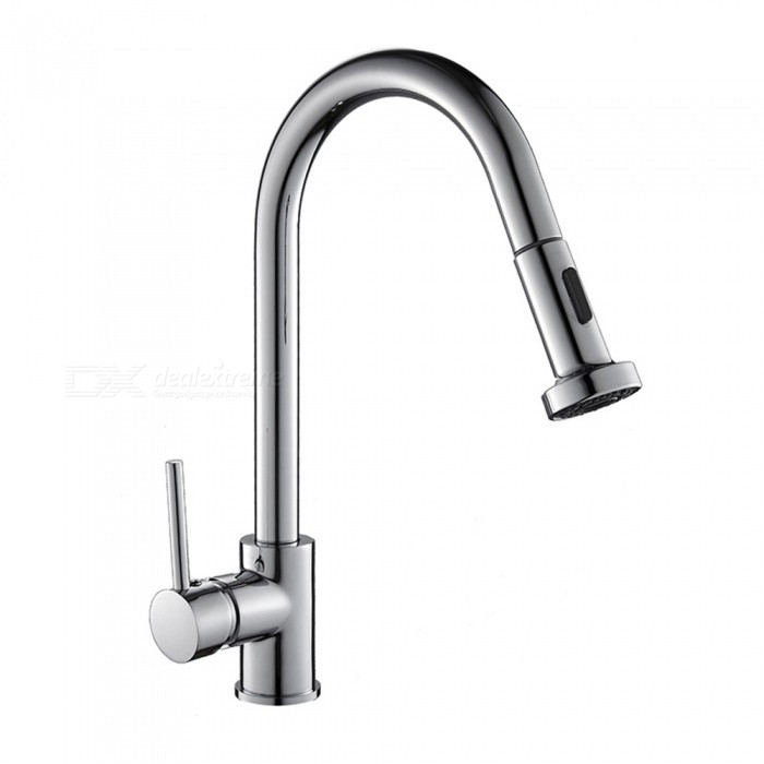 Buy Brass Chrome Pull-out/­Pull-down 360 Degree Rotatable One-Hole Kitchen Faucet with Ceramic Valve, Single Handle with Litecoins with Free Shipping on Gipsybee.com