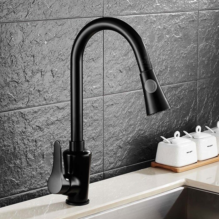 Brass Black Spray Paint Pull-out/­Pull-down 360 Degree Rotatable One-Hole Kitchen Faucet with Ceramic Valve, Single Handle