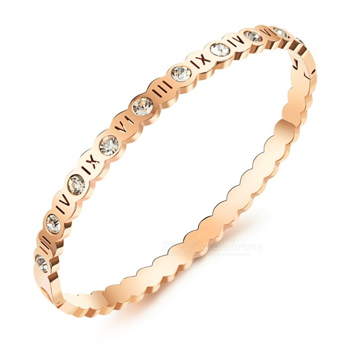 XSUNI Lucky Roman Numeral Bring Drill Rose Gold Titanium Steel Ma'am Bracelet - Rose Gold for sale in Bitcoin, Litecoin, Ethereum, Bitcoin Cash with the best price and Free Shipping on Gipsybee.com
