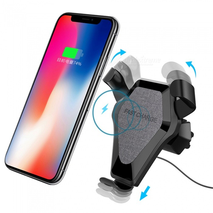 Fast Charge Qi Wireless Charging Pad, Car Air Vent Dashboard Holder Mount Charger