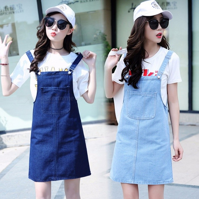 Summer Women Denim Dress Sundress Casual Loose Overalls Dresses Female Solid Adjustable Strap Jeans Dress Sky Blue/XL for sale for the best price on Gipsybee.com.