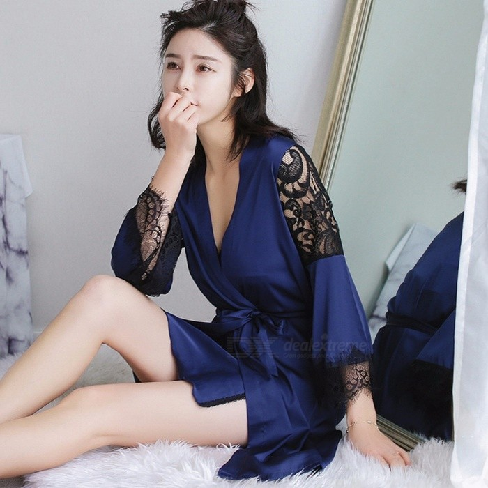 Elegant Women\'s Pajamas Artificial Silk Nightwear Lace V Neck Sexy Nightgown Homewear Red/XL for sale for the best price on Gipsybee.com.