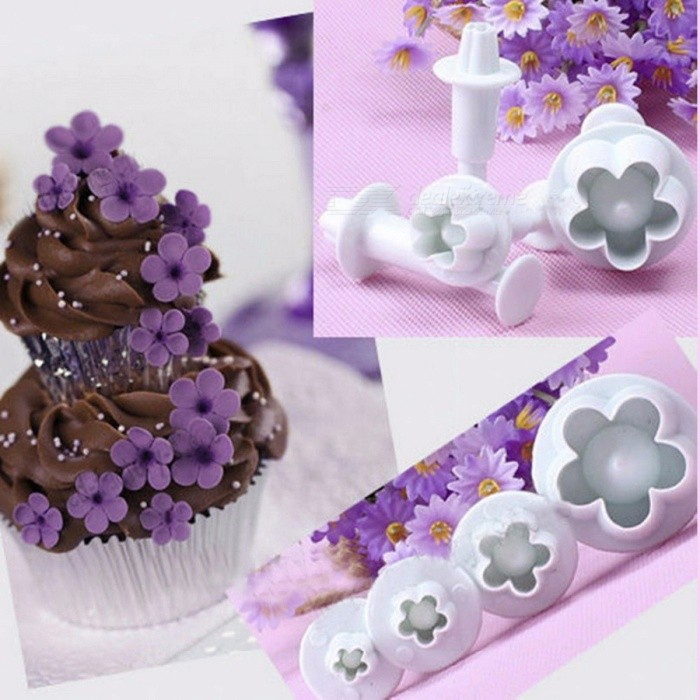 Buy 4pcs Fondant Tool Mold Plum Flower Plunger Sugarcraft Cake Tools Decorating Christmas Cake Decorating Tools White with Litecoins with Free Shipping on Gipsybee.com