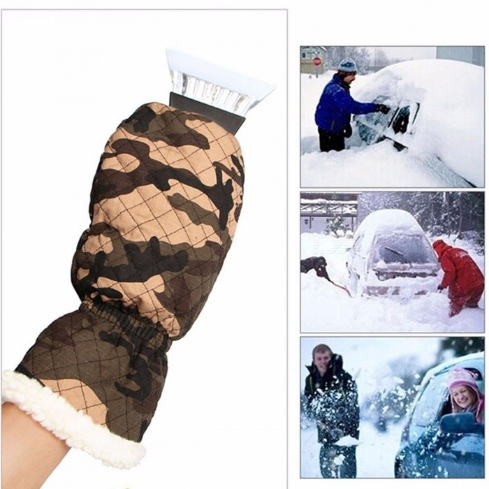 Camouflage Ice Scraper Mitt Car Windshield Snow Scraper With Waterproof Glove Lined Of Thick Fleece Keep Your Hands Warm