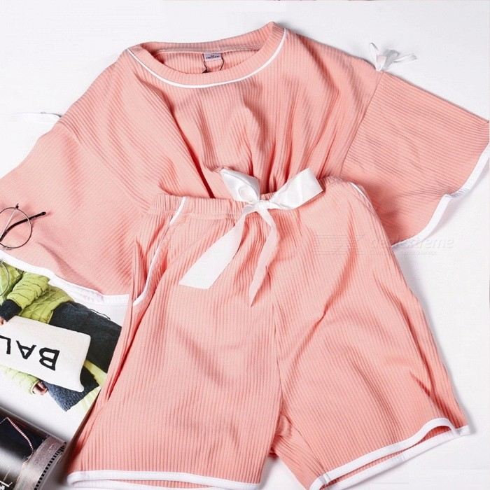 Buy Summer Leisure Wear Women Cotton Suit Pink Cute Shorts Round Neck T-shirt Pink/XL with Litecoins with Free Shipping on Gipsybee.com
