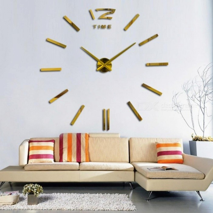 3D Real Big Wall Clock Rushed Mirror Wall Sticker DIY Living Room Home Decor Fashion Watches Arrival Quartz Wall Clocks 47inch/Gold