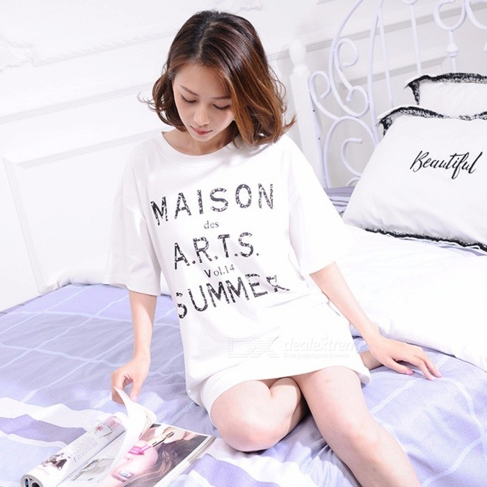 Summer Short-sleeved Women\'s Pajamas, Casual Letter Pattern Cotton T-Shirt Sleepwear Sleepshirt For Girls White/XL
