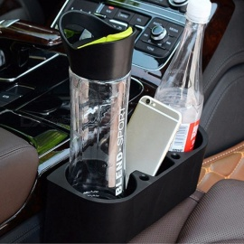 Multifunctional 3-in-1 Vehicle Cup Holder Box, Car Accessories Cell Phones / Drink Holder, Storage Box Black