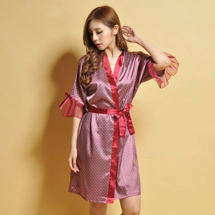Buy New Lady Pajama, Sexy Noble Silk Woman\'s Shirt Style Nightgown, Woman Girl Sexy Robe Red/One Size with Litecoins with Free Shipping on Gipsybee.com