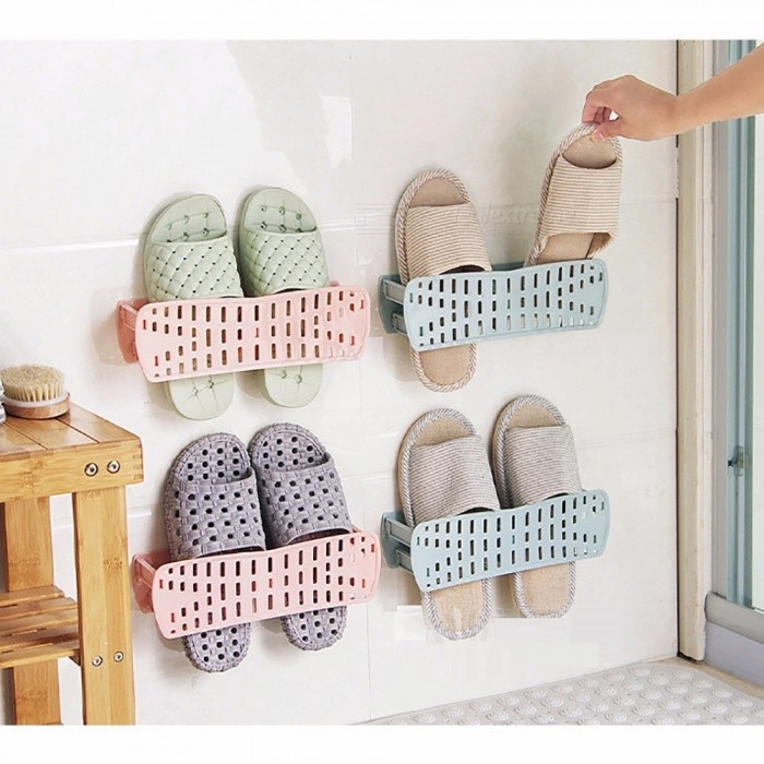 Buy Ventilate Shoe Rack, Plastic Wall Hanging Type Adhesive Shoe Rack, Storage Hanger Organizer Space Saver Pink with Litecoins with Free Shipping on Gipsybee.com