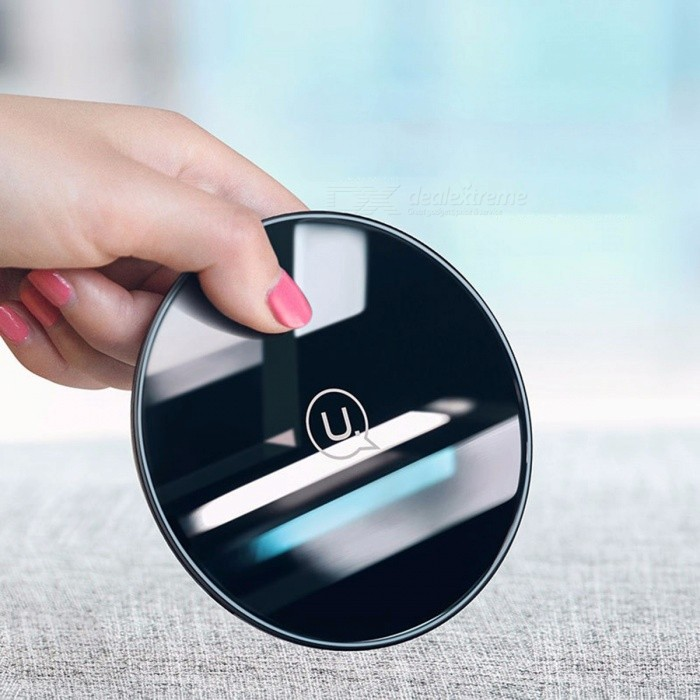 Buy USAMS 10W Glass Fast Wireless Charger For Samsung Galaxy S8 S9 Note 8, 9V Universal Charging Pad For IPHONE 8 / X Black with Litecoins with Free Shipping on Gipsybee.com