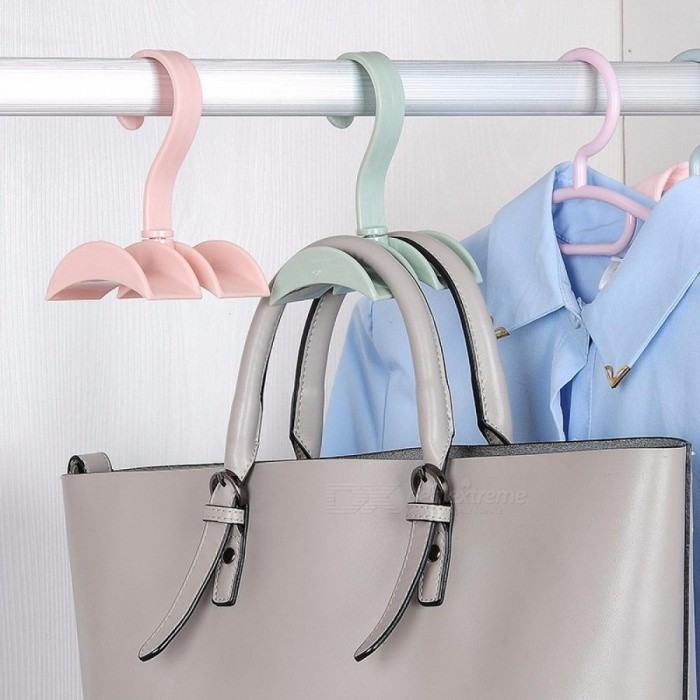 Buy Rotated Storage Rack Bag Hanger Without Punch, Plastic Clothes Rack, Creative Tie Coat Closet Hanger, Wardrobe Organizer Pink with Litecoins with Free Shipping on Gipsybee.com