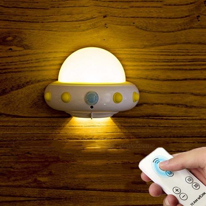 Buy Novelty UFO LED Night Light W/ Remote Control, Adjustable Brightness Plug-In 220V Dimmable Wall Light For Baby White/CN with Litecoins with Free Shipping on Gipsybee.com