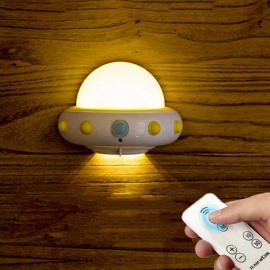 Novelty UFO LED Night Light W/ Remote Control, Adjustable Brightness Plug-In 220V Dimmable Wall Light For Baby