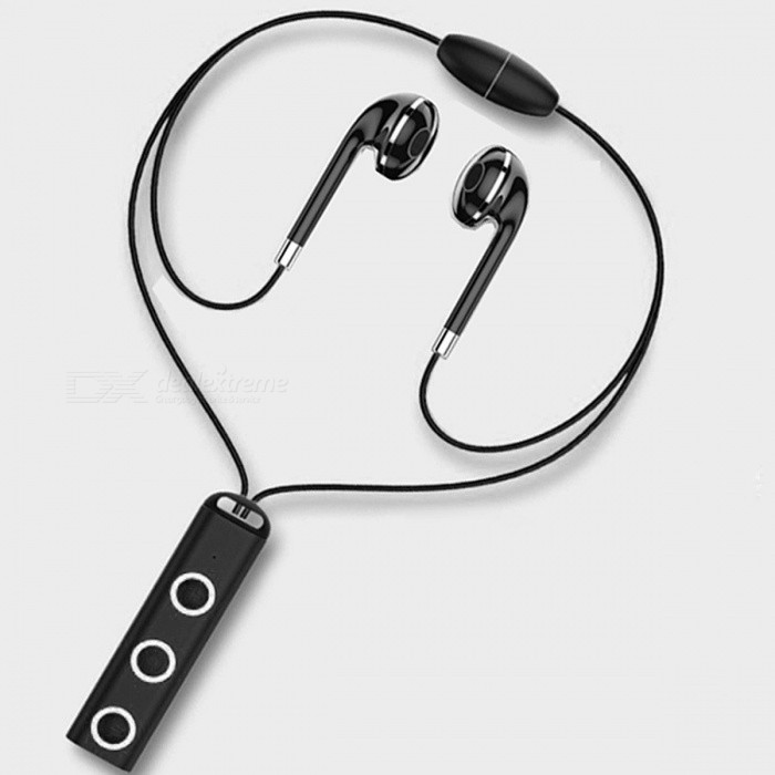 Magnetic Wireless Bluetooth Headset Earphone Stereo Earbuds Sport Running Headphone Earpiece With Mic For Smart Phone Black