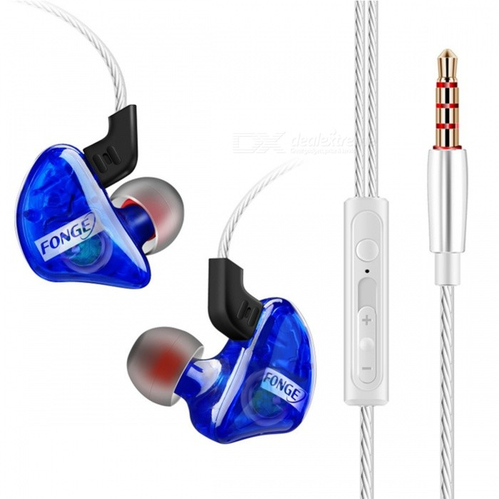 Fonge Transparent T01 Wired Sports In-Ear Earphone Subwoofer Stereo Bass Earbuds Headset With Mic For Smart Phone Blue