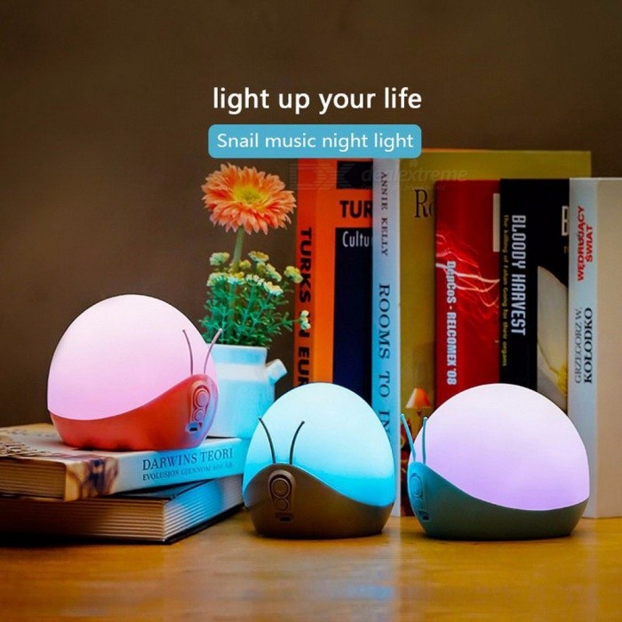 Buy Colorful Night Light Snail Style Sleeping Night Light LED Creative Music With Colorful Cool Night Light USB Rechargeable Sky Blue with Litecoins with Free Shipping on Gipsybee.com