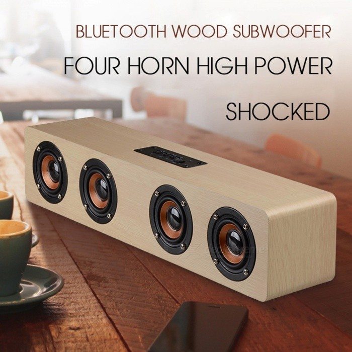 W8 Bluetooth Speakers Wireless Stereo Subwoofer Altavoz Wood Home Audio Desktop Speaker