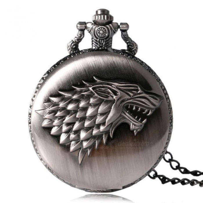 Necklace Watches Gray Tone Honorable Stark House Wolf Quartz Pocket Watch Pendant Game of Thrones Theme Long Chain Pocket Watch