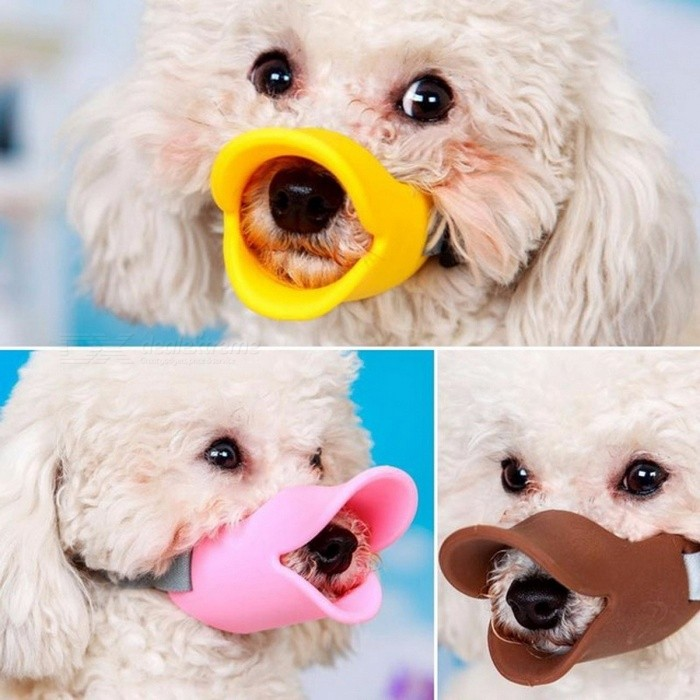 Buy Snout Dog Silicone Cute Duck Mouth Muzzle Bark Bite Stop Small Dog Anti-bite Masks For Pet Dog Products Accessories coffee/L with Litecoins with Free Shipping on Gipsybee.com