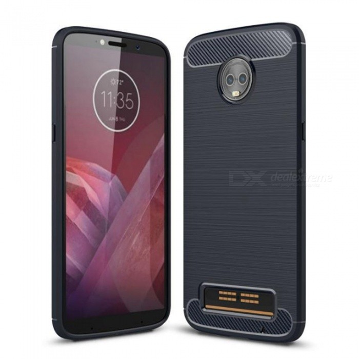 Naxtop Wire Drawing Carbon Fiber Textured TPU Brushed Finish Soft Phone Back Cover Case For Motorola Moto Z3 Play