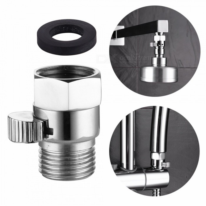 Buy Brass Body Flow Control Shut Off Valve with Washer for Shower Head - Silver with Litecoins with Free Shipping on Gipsybee.com