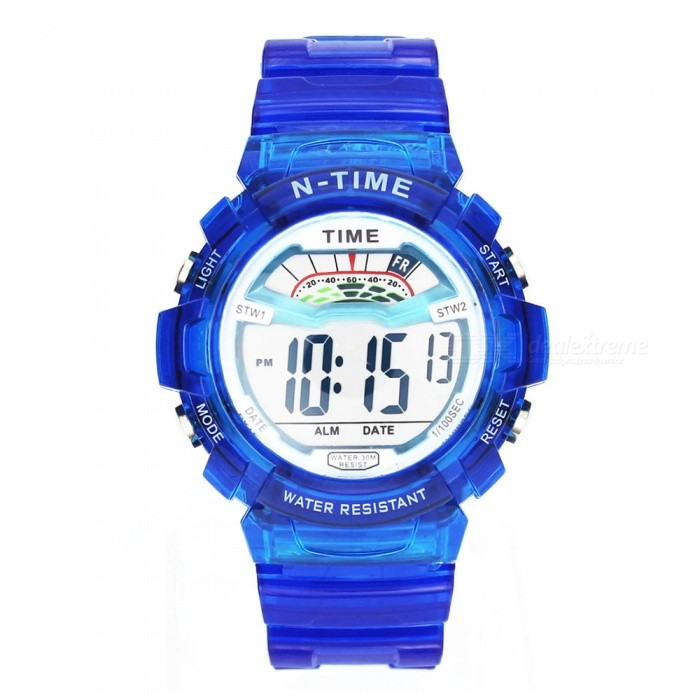 30 Meter Waterproof Children Sports Watch w/ LED Light, Alarm Clock, Date Display for Girls, Student - Blue
