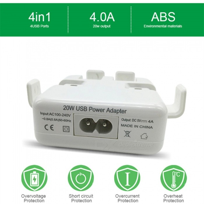 Universal Portable 4-Port USB Charger, Power Adapter for Mobile Phone Charging