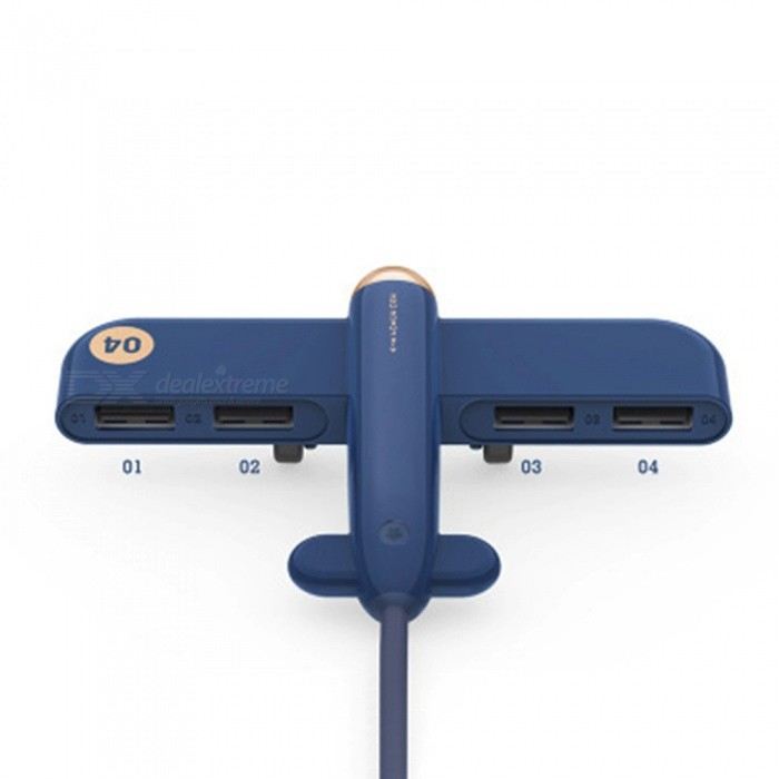 Buy JEDX Creative Plane Style USB Splitter Hub 4 Ports USB 2.0 Hub - Blue with Litecoins with Free Shipping on Gipsybee.com