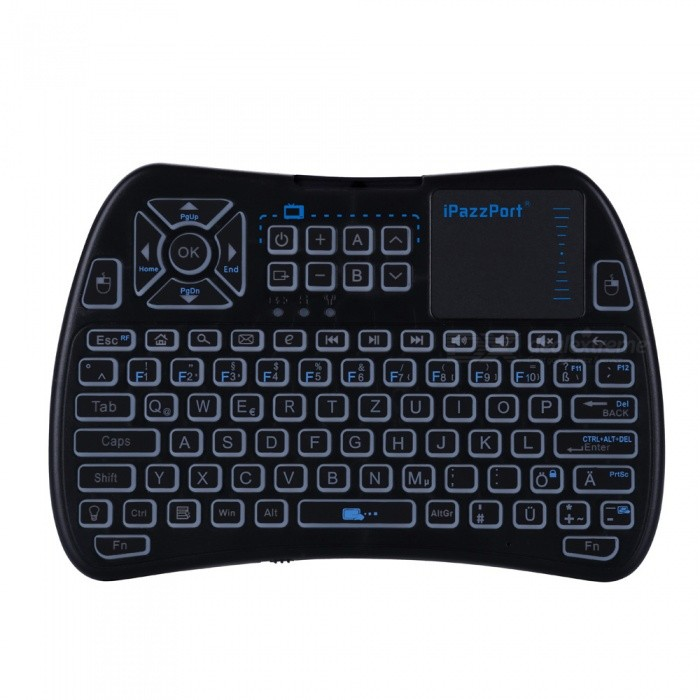Buy iPazzPort Mini 2.4GHz Wireless Keyboard with Touchpad - Black (German) with Litecoins with Free Shipping on Gipsybee.com