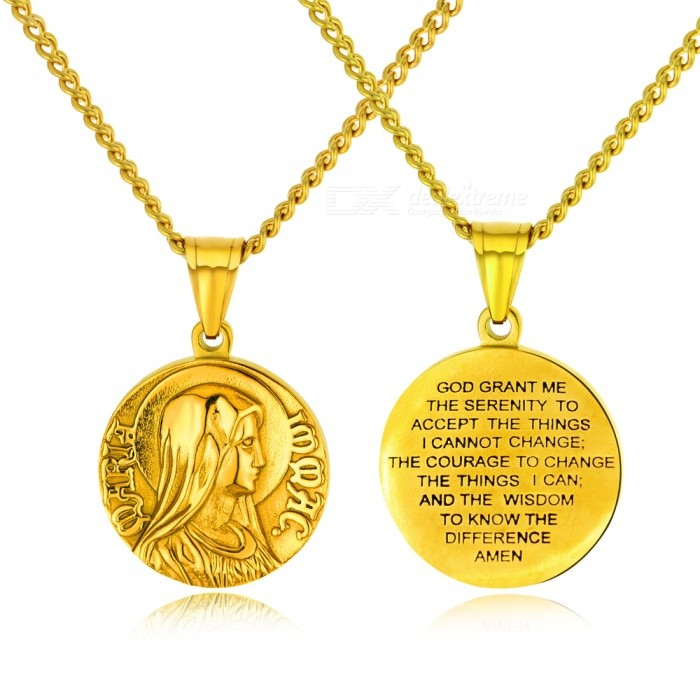 XSUNI Titanium Steel Positive And Negative Mary Maria Carving Necklace, Men And Women Religion Ornaments - Gold