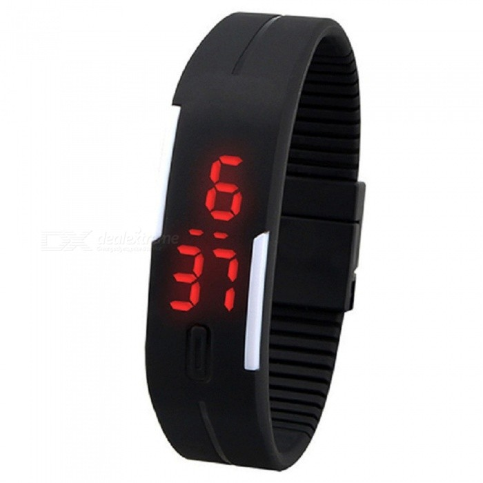 XSUNI Unisex Lodestone PU Band LED Bracelet Wrist Watch - Black