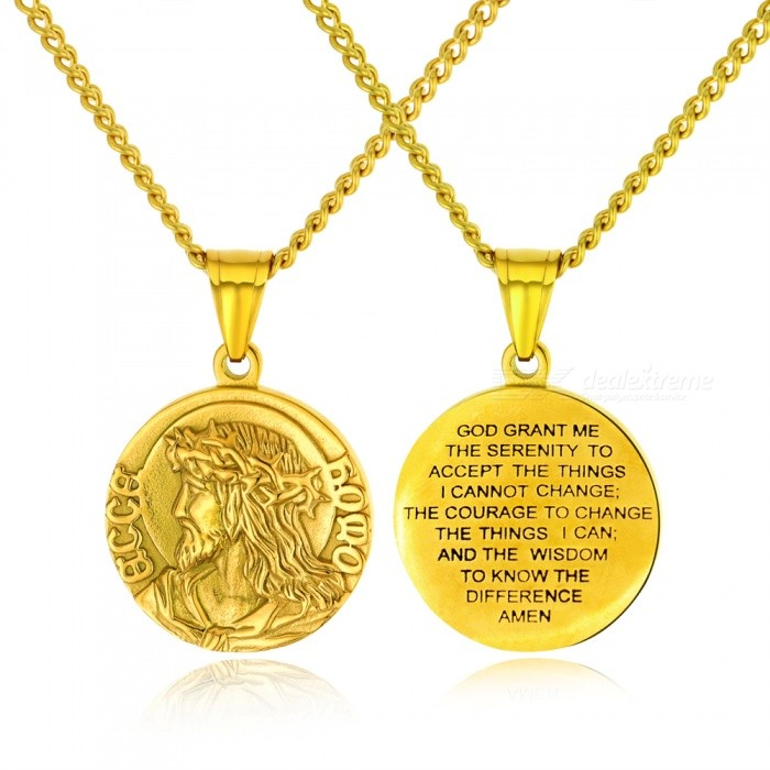 XSUNI Titanium Steel Positive And Negative Father Jesus Carving Necklace, Men And Women Religion Ornaments - Gold