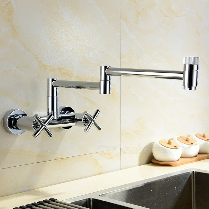 Buy Chrome Wall Mounted 360 Degree Rotating Folding Spout Kitchen Faucet Mixer Tap with Litecoins with Free Shipping on Gipsybee.com