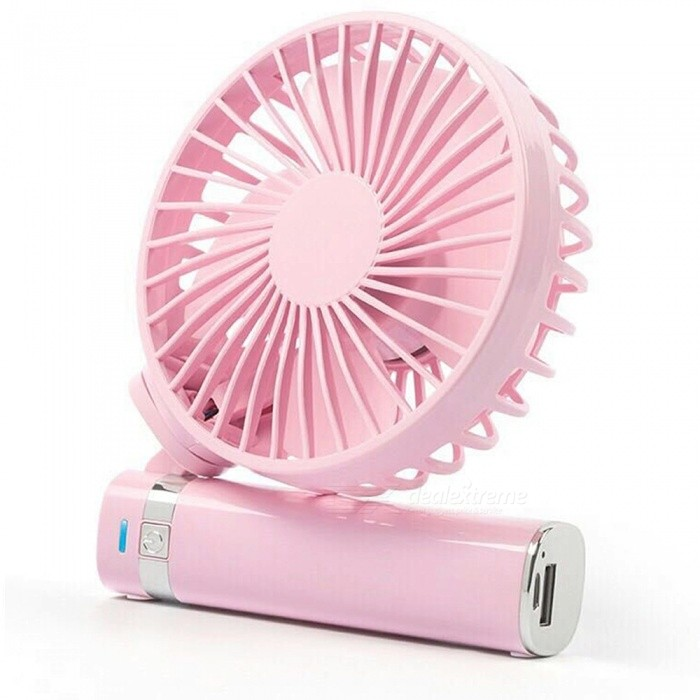 Portable Hand-held USB Rechargeable Small Fan with Night Light + Power Bank Function - Pink